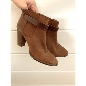 Madewell Brown Leather Gore Strap Booties